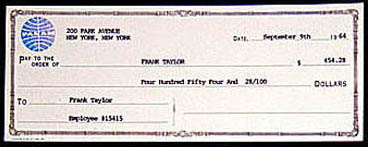 Pay check from Pan American World Airways (Pan Am)