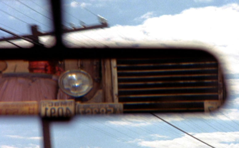 Truck reflected in car mirror in the Steven Spielberg (TV) movie 'Duel'