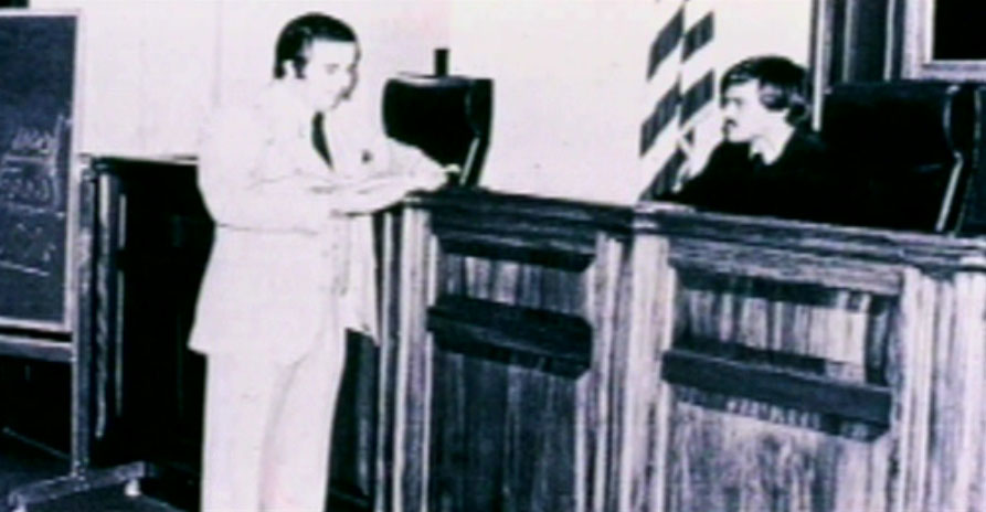 Frank Abagnale as assistant district attorney (D.A.) in court