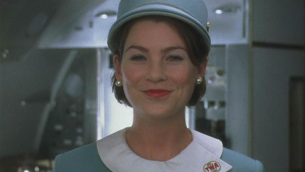 Actress Ellen Pompeo as stewardess in the Steven Spielberg movie 'Catch Me If You Can'