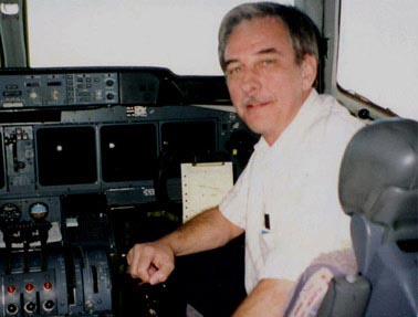 Pilot Paul J. Holsen II in the airplane cabin