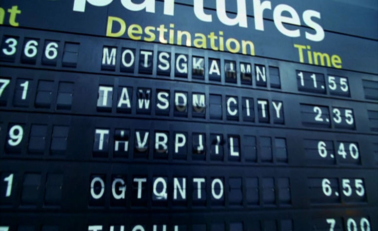Airport signage in the Steven Spielberg movie 'The Terminal'